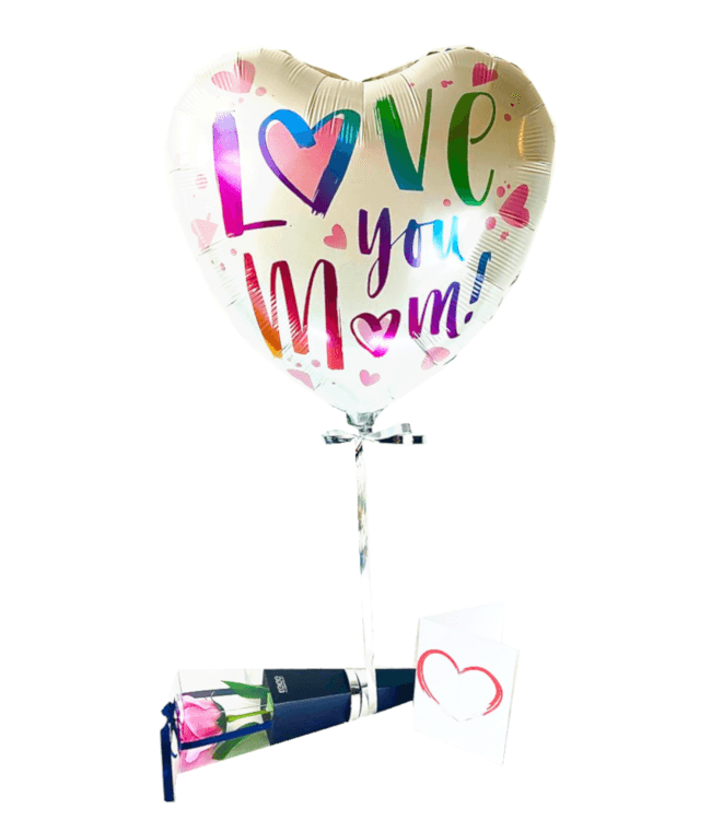 Image 1 Ballon Love you Mom+Rose de savon