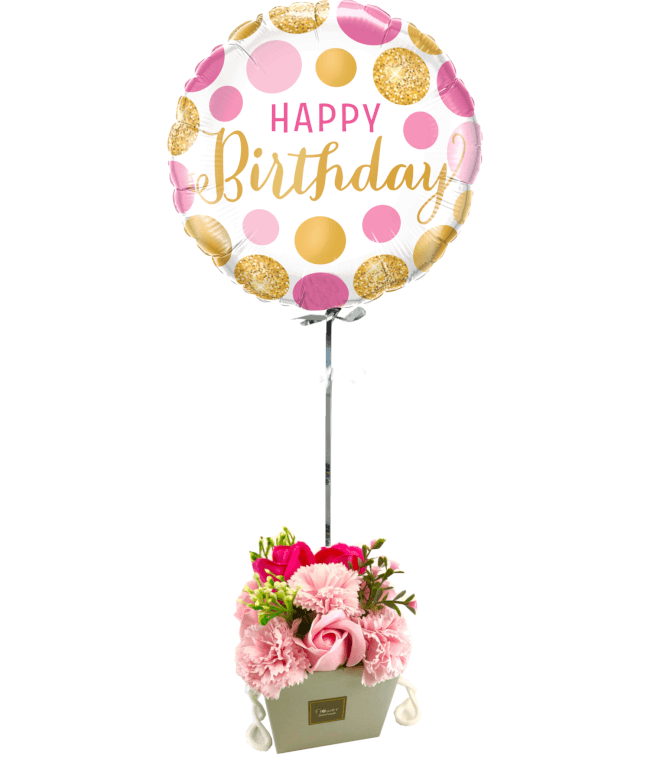 Image 1 Ballon Happy Rose+Bouquet de roses de savon