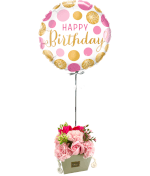 Vignette 1 Ballon Happy Rose+Bouquet de roses de savon