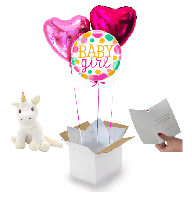 Image 1 Bouquet Baby Girl Naissance+peluche licorne