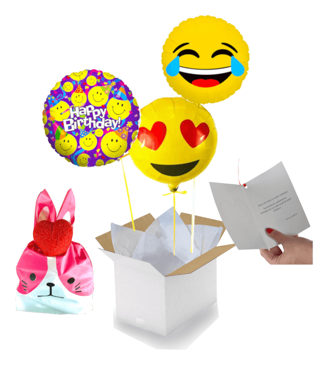 Image 1 Bouquet Happy Birthday Emoji+ballotin de Big Fraise Tagada