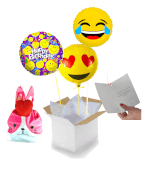 Vignette 1 Bouquet Happy Birthday Emoji+ballotin de Big Fraise Tagada