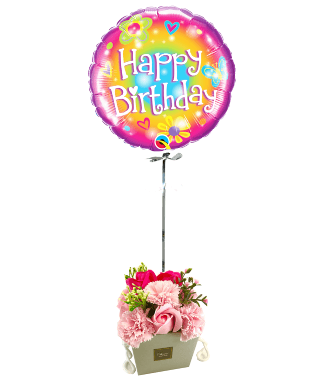 Image 1 Ballon Happy woodstock+Bouquet de roses de savon