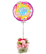 Vignette 1 Ballon Happy woodstock+Bouquet de roses de savon