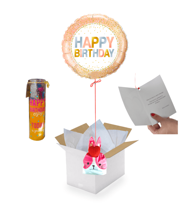 Image 1 Ballon Happy Birthday Rosé+Ballotin de Fraise Tagada+Bougie Happy Birthday Coco