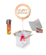 Vignette 1 Ballon Happy Birthday Rosé+Ballotin de Fraise Tagada+Bougie Happy Birthday Coco