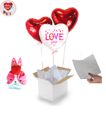 Vignette 1 Bouquet de Ballons I Love You+2 Cœurs rouges+Ballontin de Big Fraise Tagada