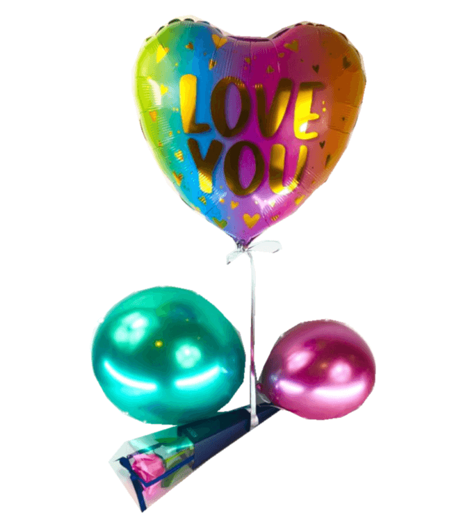Image 1 Ballon Love you+rose de savon