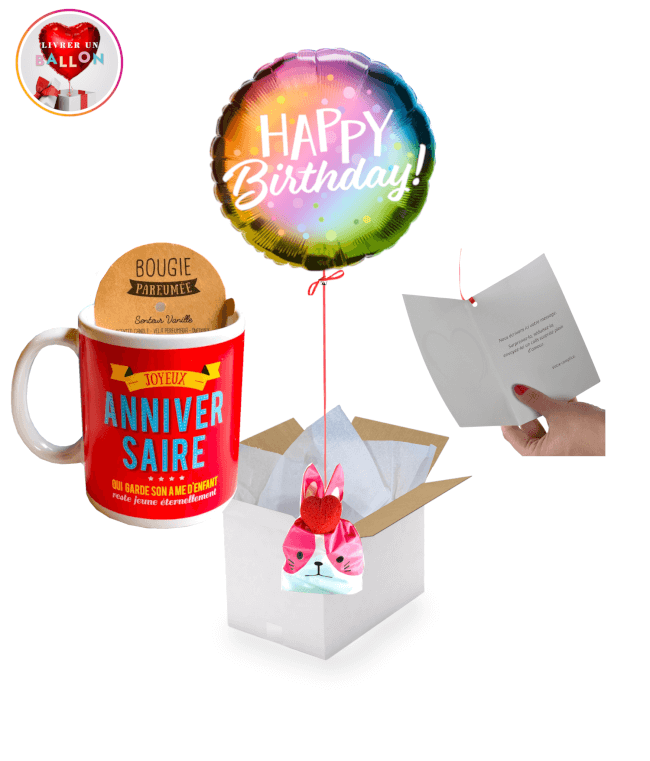 Image 1 Ballon Happy Birthday Solaire+Bougie Mug +Ballotin de Big Fraise Tagada